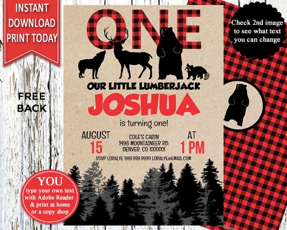 Lumberjack Invitation Template Free Awesome First Birthday Lumberjack Lumberjack Party Lumberjack