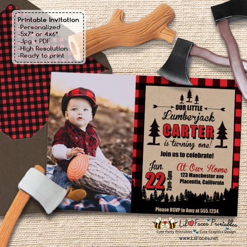 Lumberjack Invitation Template Free Elegant Lumberjack First Birthday Party Printable Invitation
