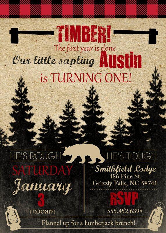 Lumberjack Invitation Template Free Elegant Lumberjack theme Birthday Party Invite Boys Birthday