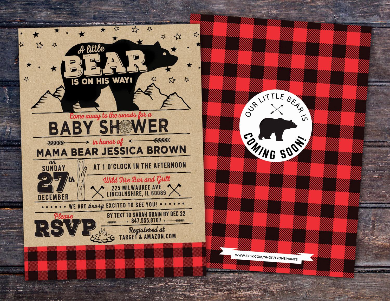 Lumberjack Invitation Template Free Fresh Lumberjack Baby Shower Invitation Buffalo Plaid Woodland