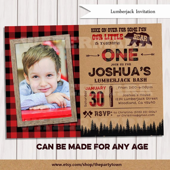 Lumberjack Invitation Template Free Fresh Lumberjack Photo Invitation First Birthday Party by