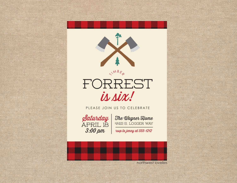 Lumberjack Invitation Template Free Lovely Lumberjack Birthday Baby Shower Party Invitation
