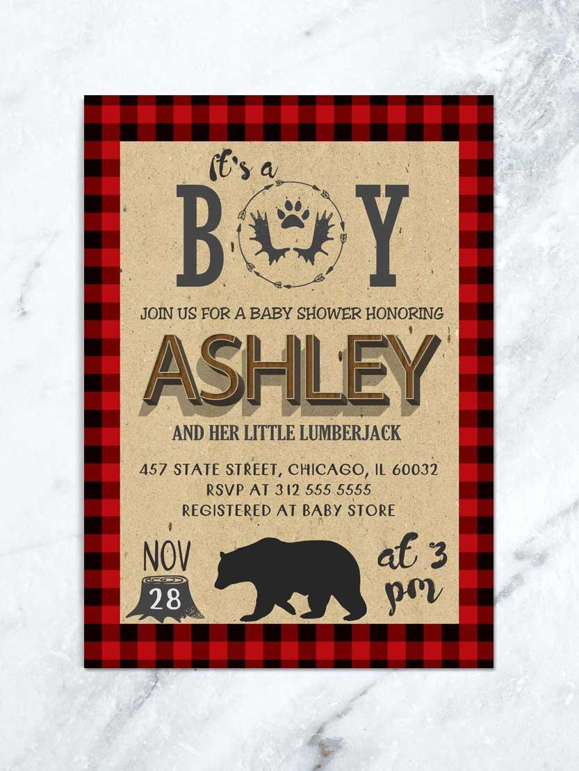 Lumberjack Invitation Template Free Luxury Lumberjack Baby Shower Invitation Bear Baby Shower