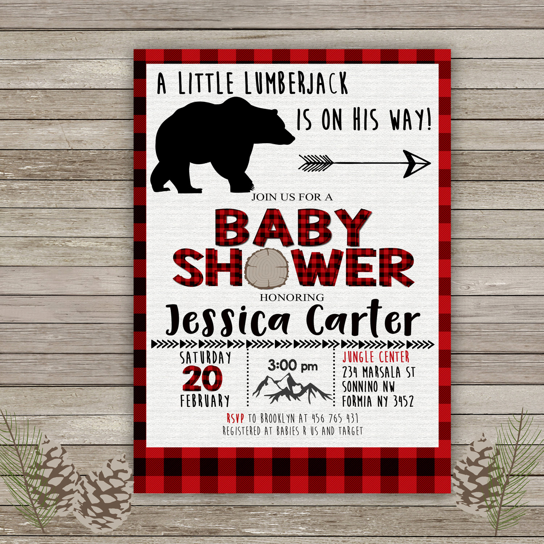 Lumberjack Invitation Template Free New Lumberjack Baby Shower Invitation Buffalo Plaid Invitation
