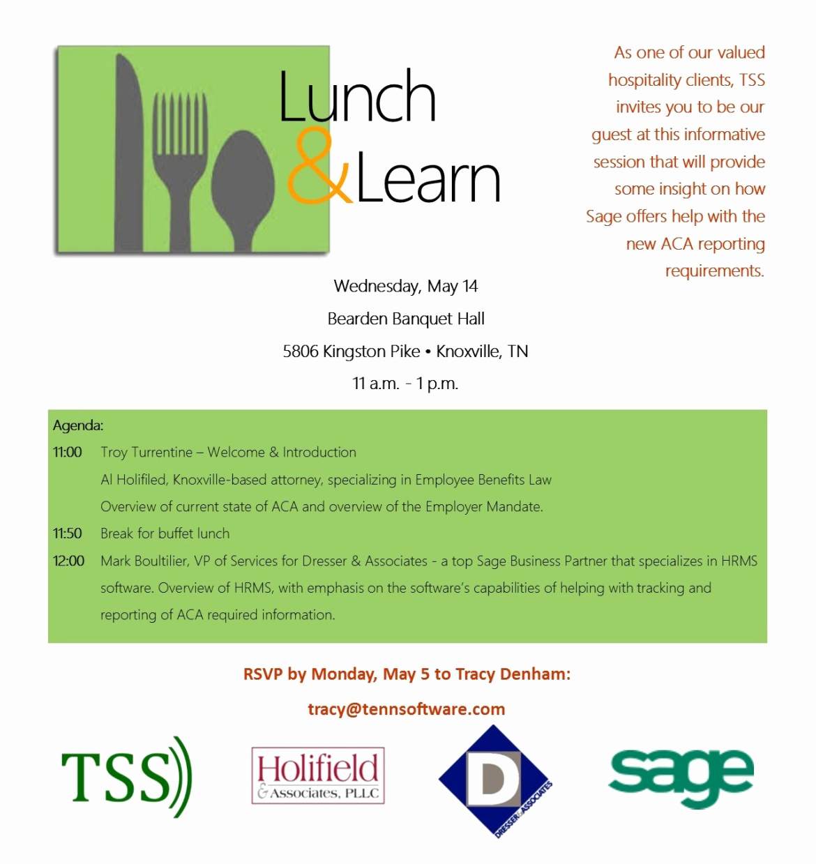 Lunch and Learn Invitation Awesome Hospitality Industry Lunch & Learn Aca Reporting – Tss