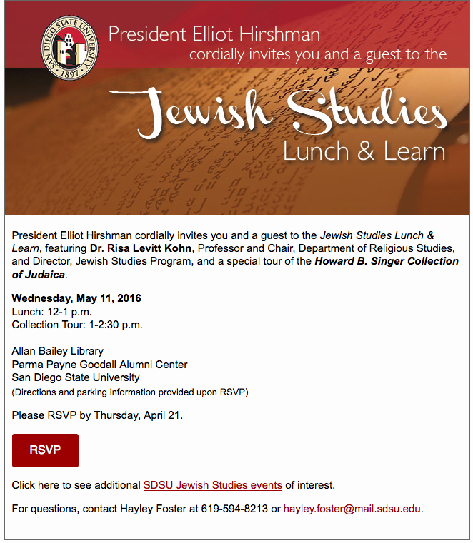 Lunch and Learn Invitation Beautiful Email Invitation — Sdsu Jewish Stu S Lunch and Learn