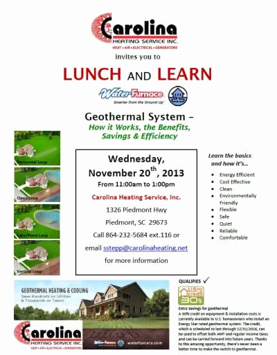 Lunch and Learn Invitation Beautiful News – Invitation to Lunch and Learn 11 2013 – Geothermal