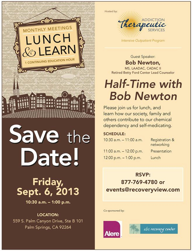 Lunch and Learn Invitation Beautiful Sept 6 Lunch and Learn at Addiction therapeutic Services