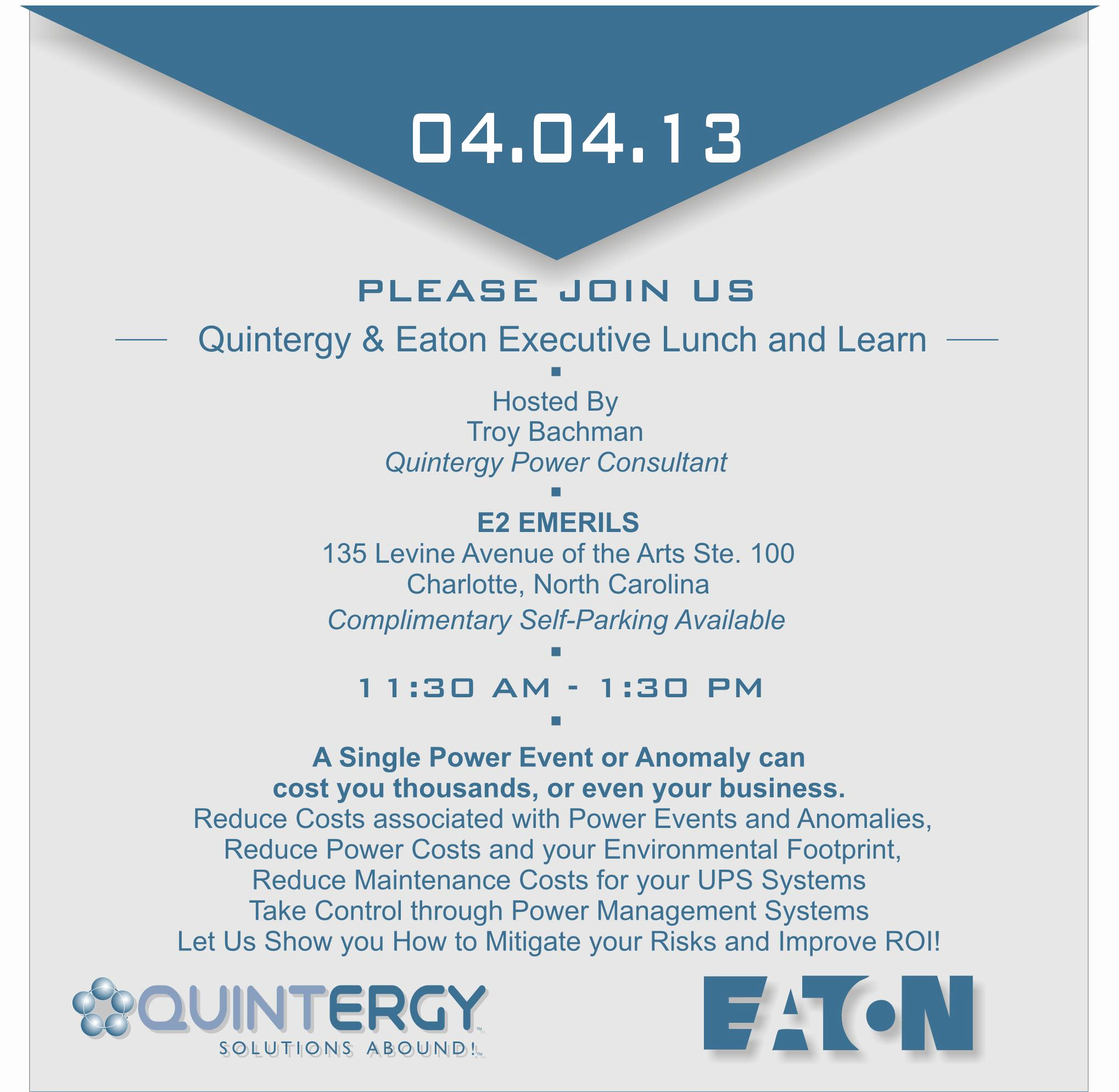 Lunch and Learn Invitation Best Of Quintergy & Eaton Executive Lunch and Learn Charlotte Nc