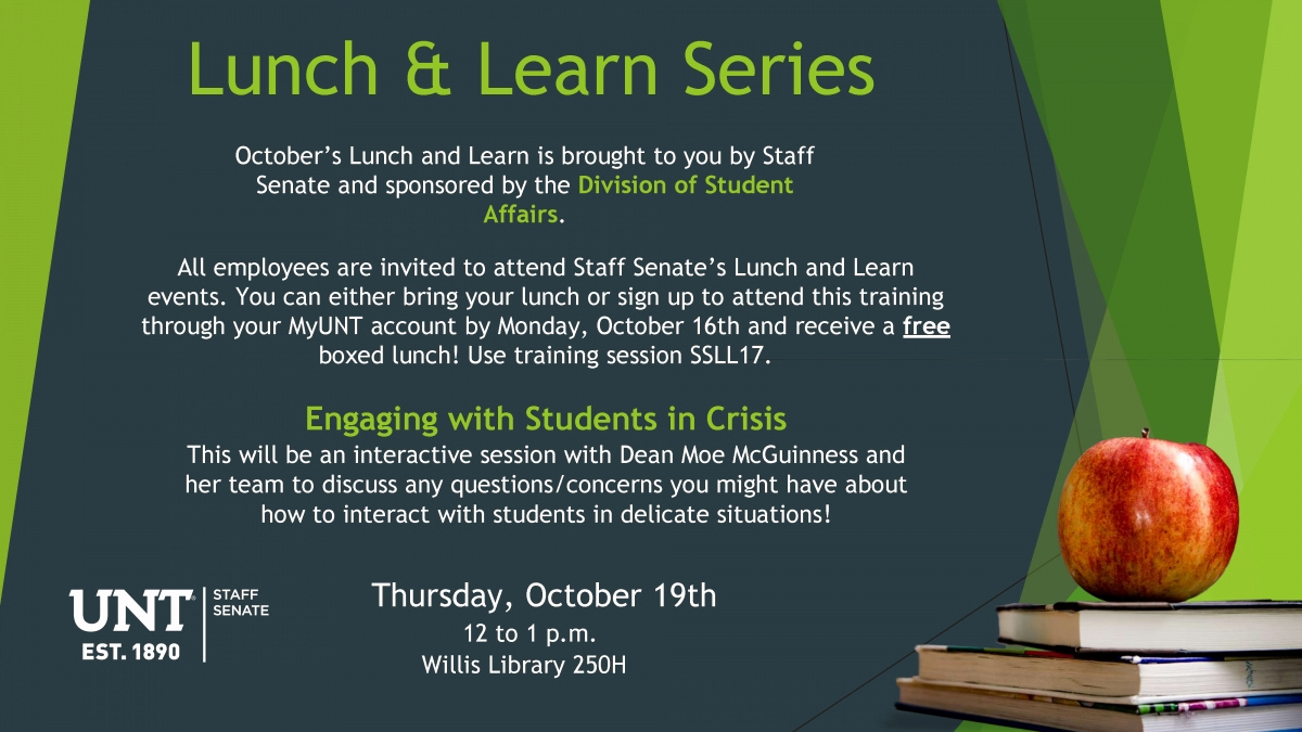 Lunch and Learn Invitation Fresh Staff Senate Lunch and Learn