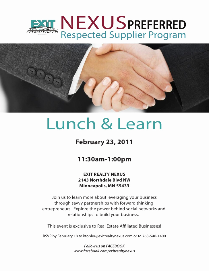 Lunch and Learn Invitation Lovely Nexus Preferred Feb 23rd Lunch and Learn Invite