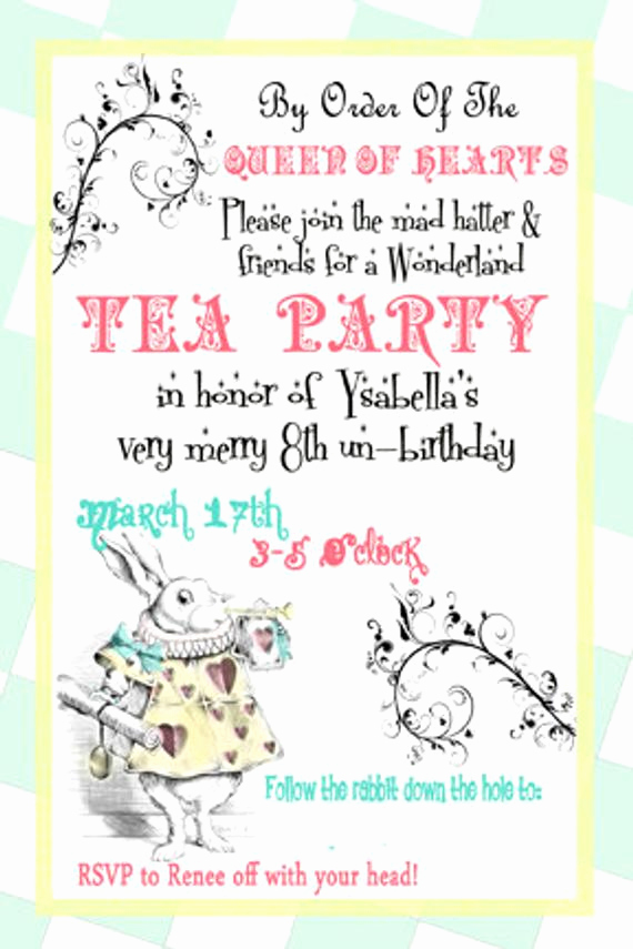 Mad Hatter Invitation Template Awesome Alice In Wonderland Invite Mad Hatter Tea Party by