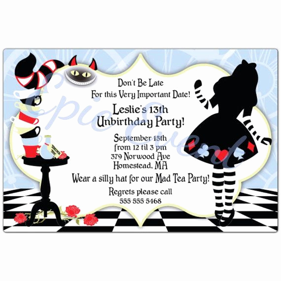 Mad Hatter Invitation Template Awesome Alice In Wonderland Mad Hatter Cards Birthday Party Sweet