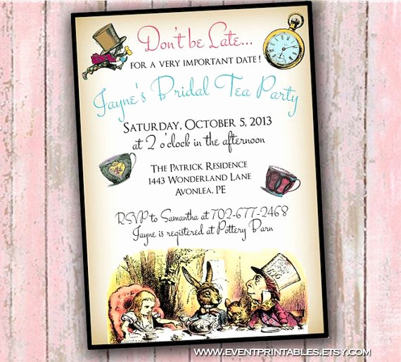 Mad Hatter Invitation Template Beautiful Alice In Wonderland Invitation Baby Shower Birthday