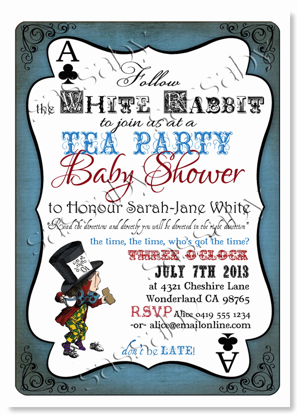 Mad Hatter Invitation Template Beautiful Mad Hatter Baby Shower Invitation