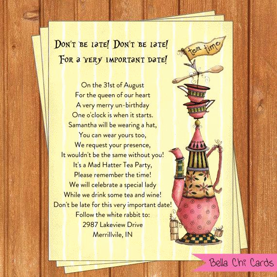 Mad Hatter Invitation Template Best Of Instant Download 5 X 7 Tea Party