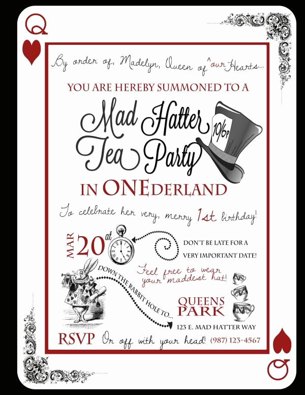 Mad Hatter Invitation Template Elegant Cute Idea for A 1st Birthday A Tea Party In Onederland