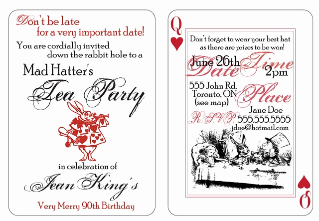 Mad Hatter Invitation Template Elegant Mad Hatter Party Invitation