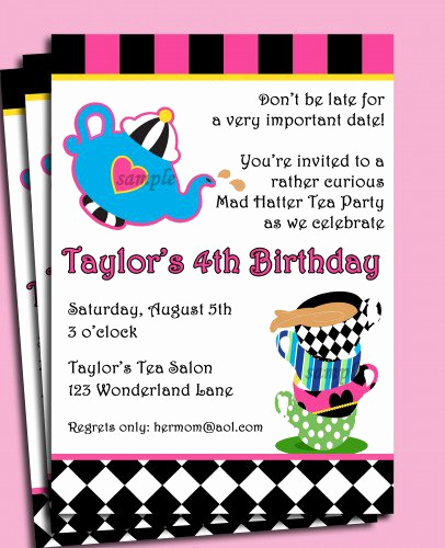 Mad Hatter Invitation Template Inspirational Mad Hatters Invitations