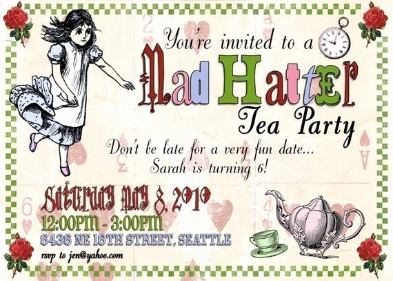 Mad Hatter Invitation Template Lovely Items Similar to Mad Hatter Tea Party Digital Invitation