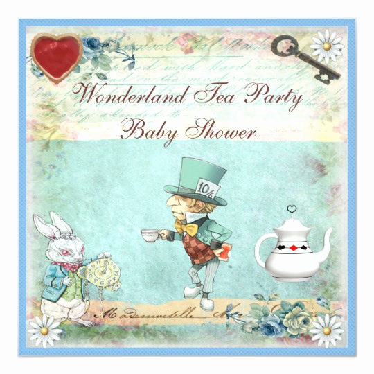 Mad Hatter Invitation Template Lovely Mad Hatter Wonderland Tea Party Baby Shower Invitation