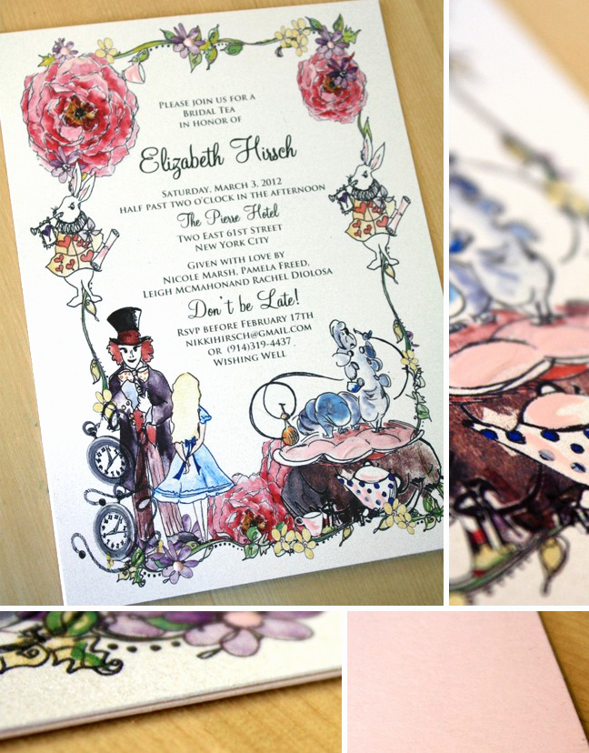 Mad Hatter Invitation Template Lovely Pink and White Shimmer Alice In Wonderland Bridal Shower