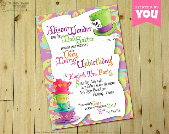 Mad Hatter Invitation Template Luxury Mad Hatter Party Invitations