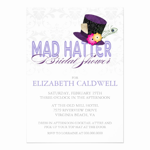 "Mad Hatter Invitation Template Unique Mad Hatter Bridal Shower Invitation 5"" X 7"" Invitation"