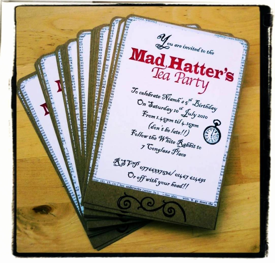 Mad Hatter Invitation Template Unique Mad Hatter Tea Party Invitations Templates