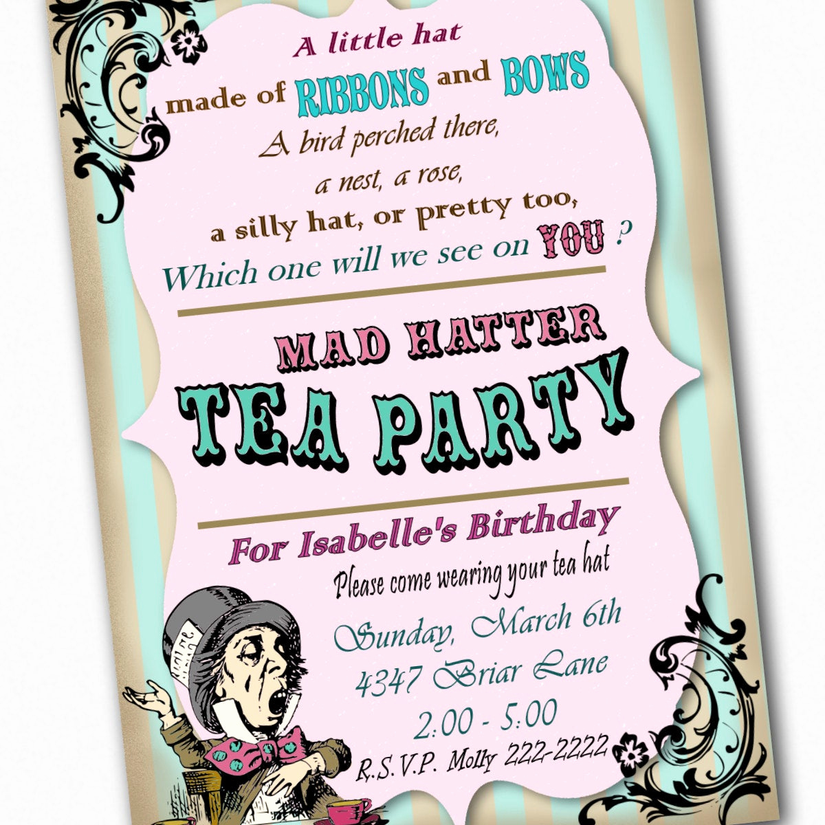 Mad Hatters Tea Party Invitation Awesome Mad Hatter Invitation Birthday Tea Party Custom by