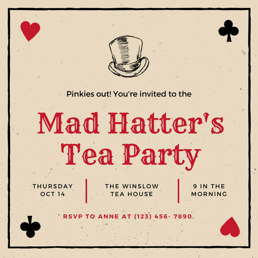 Mad Hatters Tea Party Invitation Beautiful Black Red Playing Cards Mad Hatter Tea Party Invitation