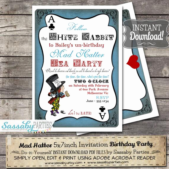 Mad Hatters Tea Party Invitation Beautiful Mad Hatter Tea Party Invitation Alice In Wonderland