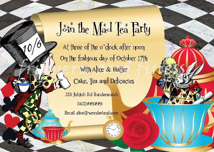 Mad Hatters Tea Party Invitation Beautiful Mad Hatter Tea Party Invite Invitation by Fripperyandfinesse