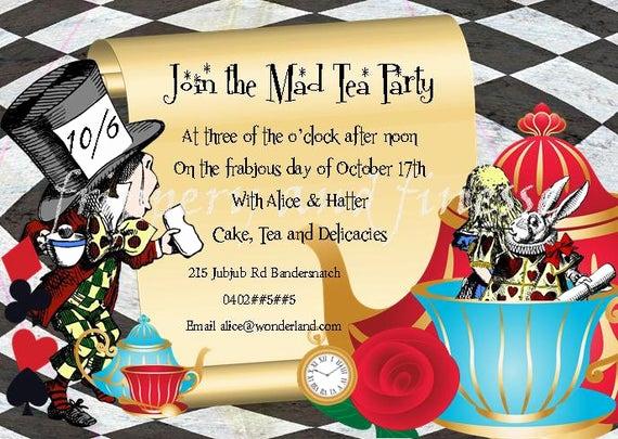 Mad Hatters Tea Party Invitation Beautiful Mad Hatter Tea Party Invite Invitation Digital by