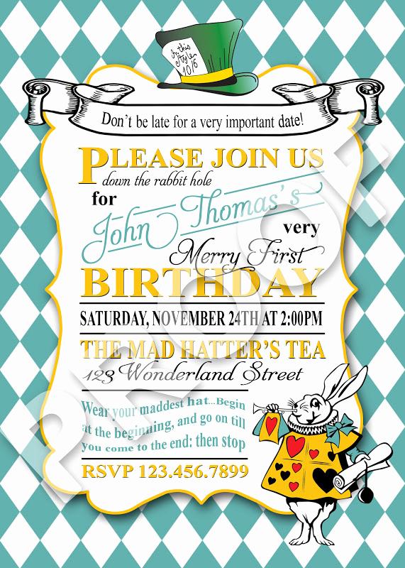 Mad Hatters Tea Party Invitation Elegant Paper Perfection Mad Hatter Tea Invitation