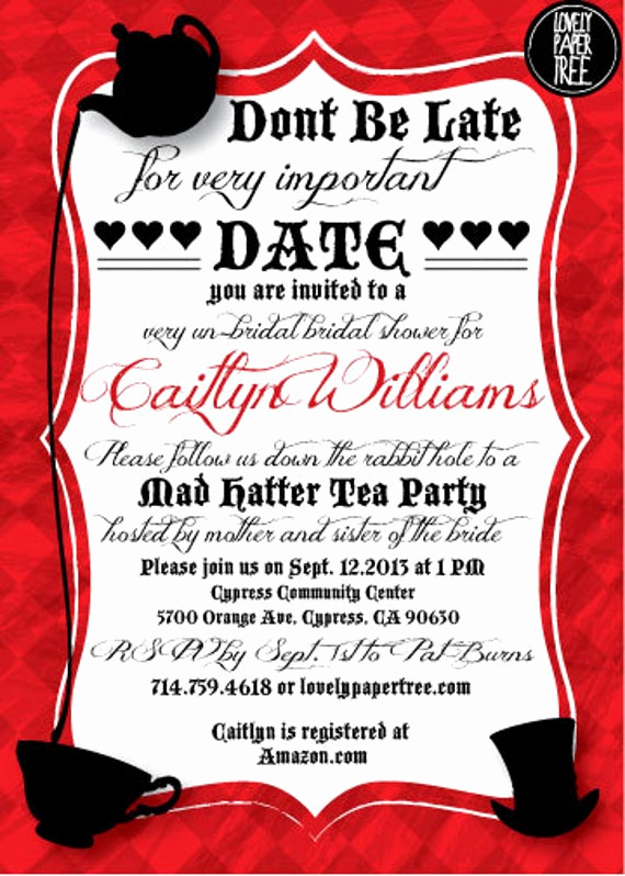 Mad Hatters Tea Party Invitation Fresh Mad Hatter S Tea Party Bridal Shower Invitation by