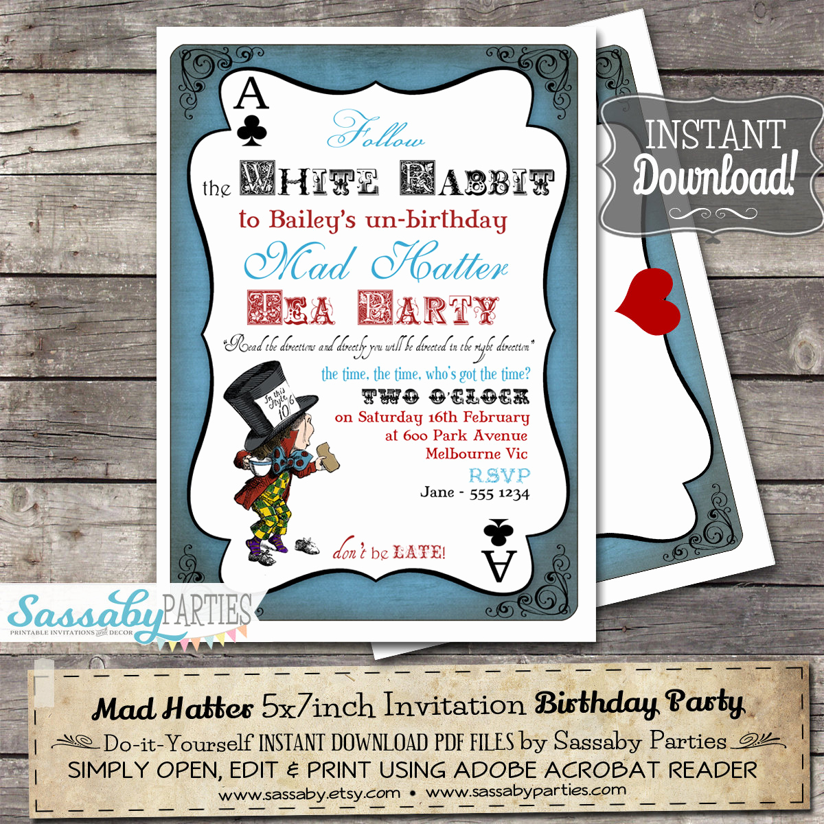 mad hatter tea party invitation alice in
