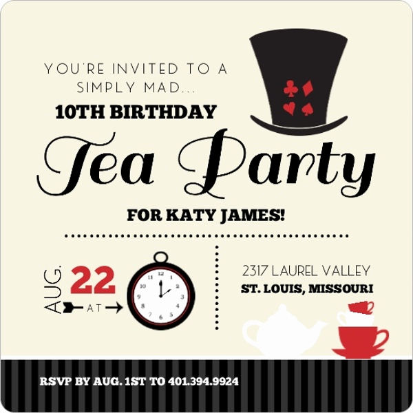 Mad Hatters Tea Party Invitation Lovely Black and Red Mad Hatter Kids Tea Party Birthday