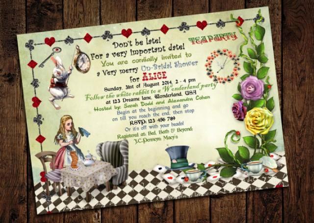 Mad Hatters Tea Party Invitation Luxury Alice In Wonderland Bridal Shower Invitation Mad Hatter