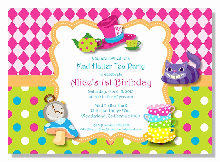 Mad Hatters Tea Party Invitation Luxury Alice In Wonderland Mad Hatter Tea Party Invitations