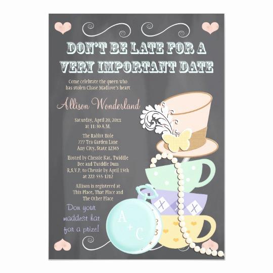 Mad Hatters Tea Party Invitation Luxury Mad Hatter Bridal Shower Invitations