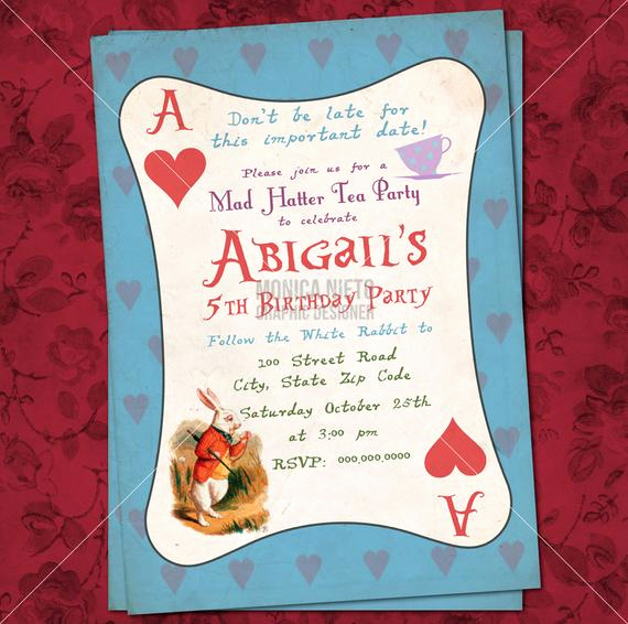 Mad Hatters Tea Party Invitation Luxury Printable Mad Hatter Tea Party Alice In Wonderland
