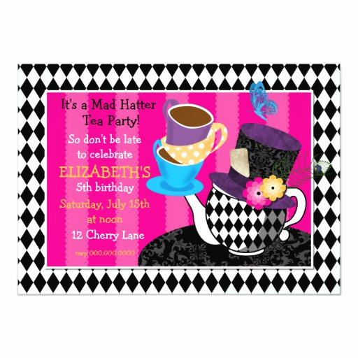 Mad Hatters Tea Party Invitation New Mad Hatter Tea Party Birthday Invitation Diamond 5x7 Paper