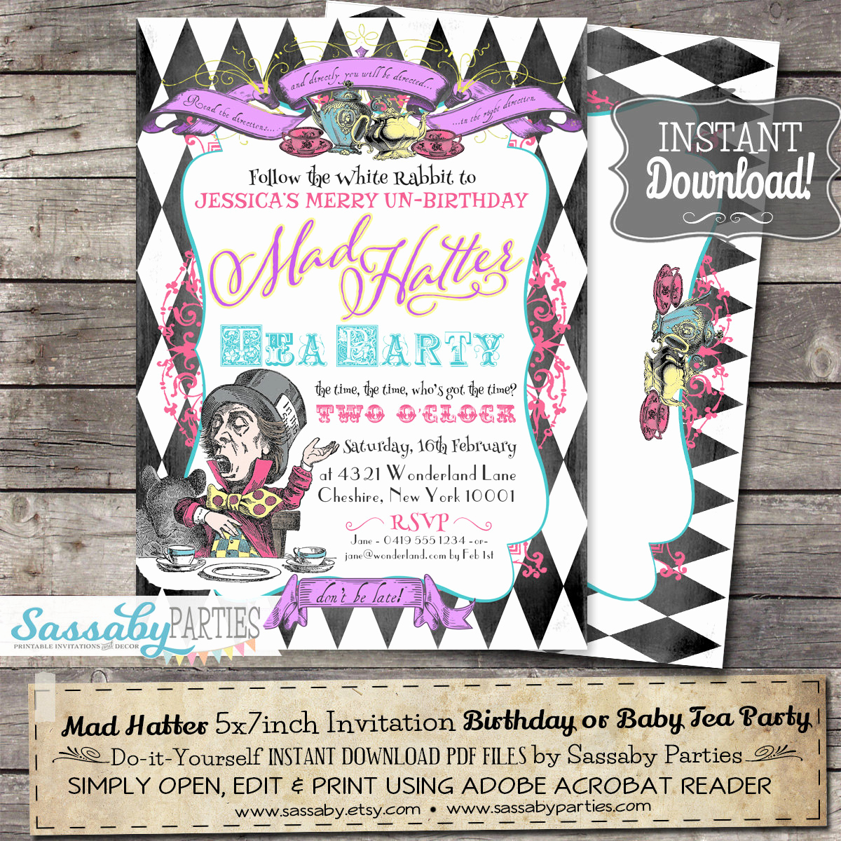 Mad Hatters Tea Party Invitation Unique Mad Hatter Tea Party Invitation Instant Download