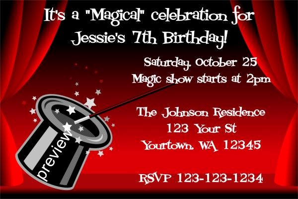 Magic Show Invitation Template Free Awesome Free Magic Birthday Party Invitations