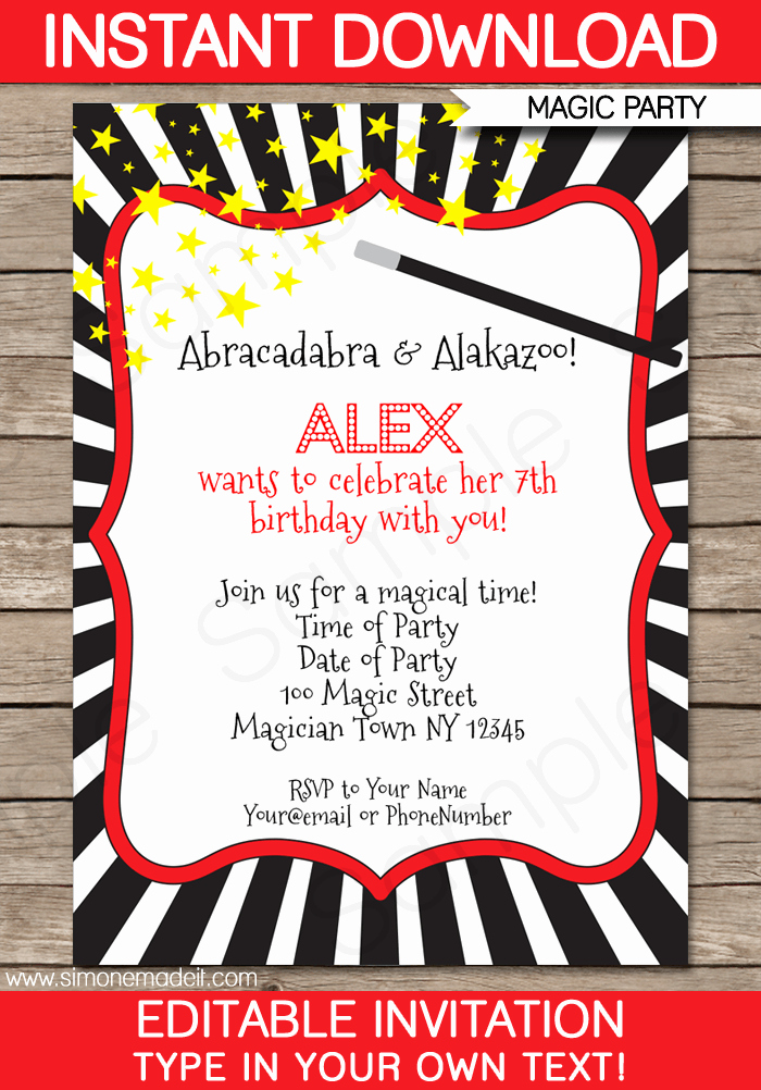 Magic Show Invitation Template Free Awesome Magic Party Invitations Template