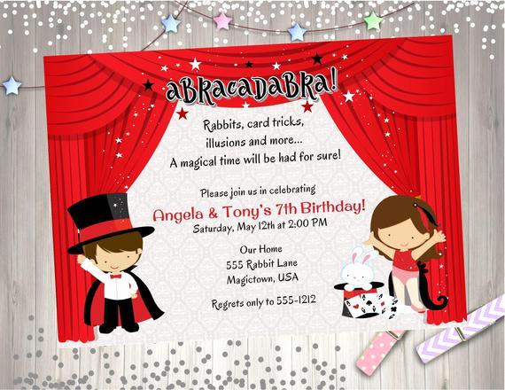 Magic Show Invitation Template Free Awesome Magic Show Birthday Party Invitation Invite Magician
