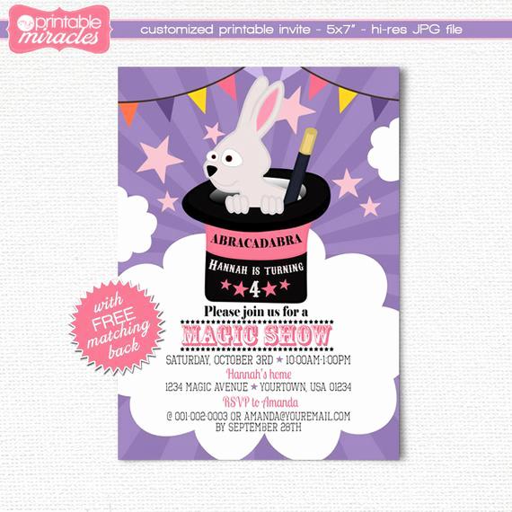Magic Show Invitation Template Free Awesome Magic Show Invitation Girls Magic Show Birthday Invitation