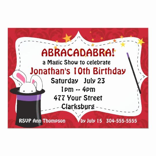 Magic Show Invitation Template Free Beautiful Abracadabra Magic Show Invitation