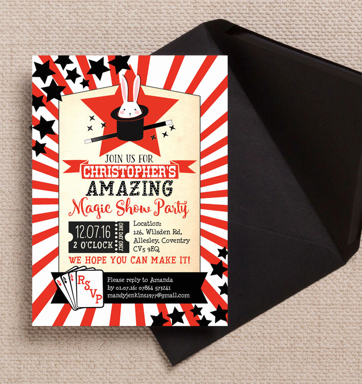 Magic Show Invitation Template Free Best Of Magic Show Party Invitation From £0 80 Each